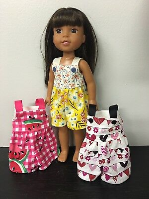 Watermelon Hearts Flowers Romper Lot Of 3 Handmade NEW Fits Wellie Wisher Doll