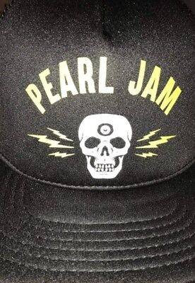 Pearl Jam Trucker Hat 2018 Lightning Bolt Skull Mesh Snap Back Mint New London