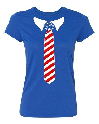 USA Tie Tuxedo 4th of July Womens T-shirt Independence Day tee
