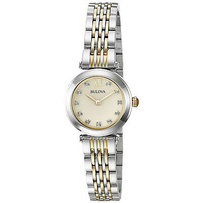 Bulova Womens 98P154 Diamond Accents Champagne Mother of Pearl Dial 25mm Watch