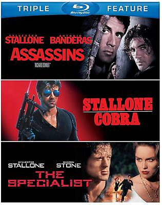 Sylvester Stallone Triple Feature AssassinsCobraThe Specialist Blu-Ray NEW