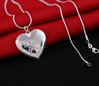 Mother's Day 925 Sterling Silver I Love You Mom Heart Necklace Photo Locket N11