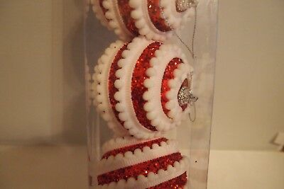 Set Red White Swirl Ball Ornaments 4th July Patriotic Lot of 5