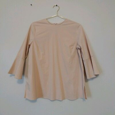 Zara Woman Medium M Beige Bell Sleeve Shirt Top