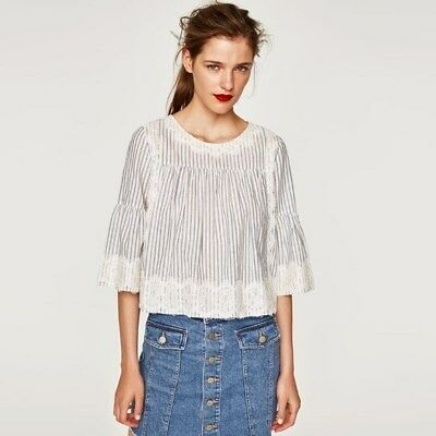NWT ZARA lace stripped cropped top