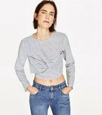 Zara Womens Striped Long Sleeve Crop Top XS