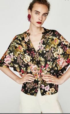 BNWT ZARA Black Flowing Floral Print Blouse Shirt Top - Sz M-