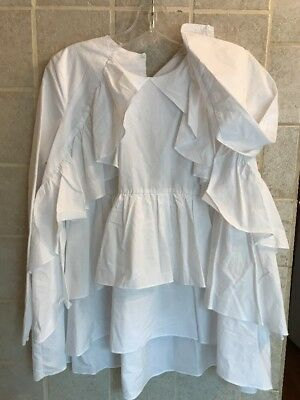 Zara Womens white ruffle long sleeve blouse tiered Size Small NWT