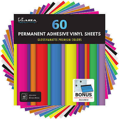 Kassa Adhesive Vinyl Sheets 60 Craft Permanent Outdoor 651 Cricut Silhouette