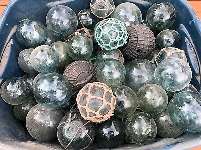 1 - Japanese Glass Fishing Float  Minor Chips - Dings  Authentic Vintage