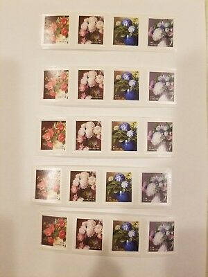 USPS Flowers from the Garden - 20 Forever Stamps - New