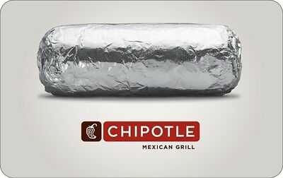 Chipotle Gift Card  - 25 50 or 100 - Email delivery