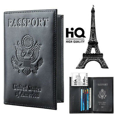 Travelambo RFID Blocking Genuine Leather Passport Holder Wallet Coverblack
