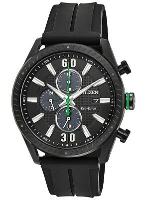 Citizen Eco-Drive Mens CTO Green Accents Black Poly Band 43mm Watch CA0665-00E
