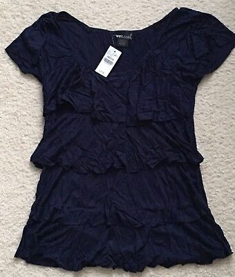 Wet Seal Womenjuniors Top size M Navy Blouse NWT