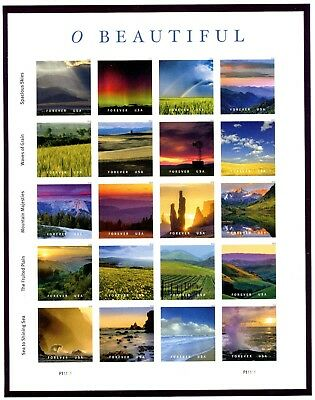 5298  O BEAUTIFUL - Forever Pane of 20 -  MNH - 2018 - P11111