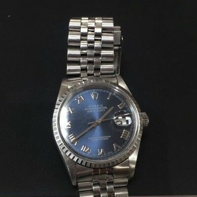 Rolex Datejust Mens Pre-owned SS Watch Jubilee Blue Roman Dial 16220