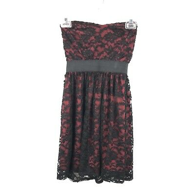 Wet Seal Juniors Size Small Red Black Lace Sweetheart Neck Sleeveless Mini Dress