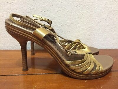 Aldo Womens Made in Italy Gold Leather Sandal Strappy Heels Shoes Size Euro 39