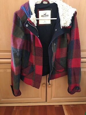 Hollister Co- Coat Small S Beautiful Pristine Condition Wool Plaid