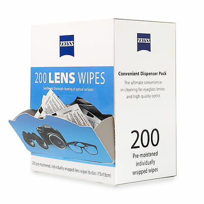 Zeiss Pre-Moistened Lens Cleaning Wipes 200 Ct Eye Glasses Screen Camera Cleaner