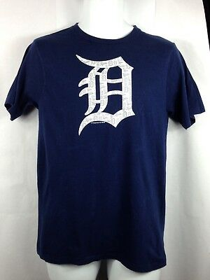 Men MLB Detroit Tigers Navy Blue Short Sleeve T Shirt Size Medium EUC