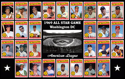 AMERICAN LEAGUE AL 1969 All Star Game Custom Baseball Card POSTER Decor Gift 69