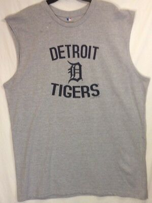 DETROIT TIGERS Mens Sleeveless 2XLT Crewneck Gray  Shirt Cotton Blend