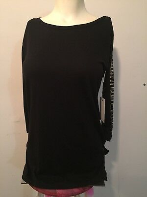 FOREVER 21 BLACK COTTON MODAL BLOUSE TUNIC EMBELLISHED 34 SLEEVES SCOOP S NWT