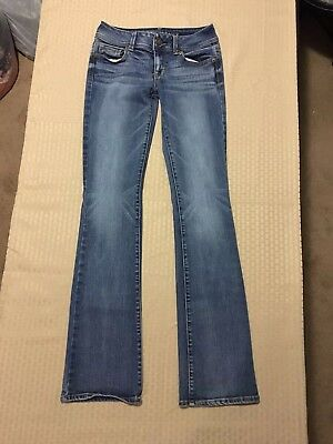 American Eagle Outfitters Woman's Super Stretch Kick Boot Blue Jeans Size 0 Long