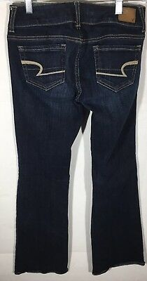 Womens American Eagle Outfitters Brand Jeans Stretch Flare Dark Wash Size 0 EUC