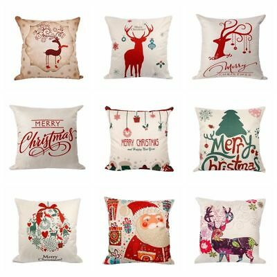 CHRISTMAS COTTON XMAS PILLOW CUSHION COVER CASE SOFA HOME CAR DECOR LINEN CUTE
