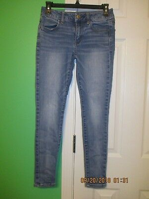 Solid Blue Jeans Super Stretch 2 Short American Eagle Outfitters Cotton Blend