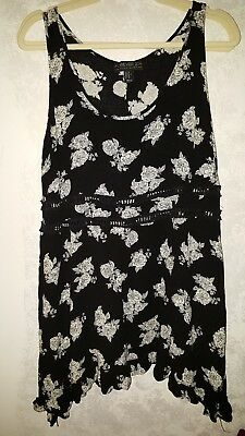 Forever 21 Plus 0x Tunic top flowers black