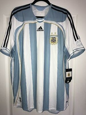 ADIDAS ARGENTINA HOME FOOTBALL JERSEY 2006 WORLD CUP CAMISETA MESSI RIQUELME