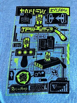 NEW Loot Crate Rick And Morty Portal Gun Graphic T Shirt XL  Blue