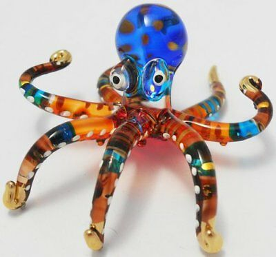 BEAUTIFUL ART COLOR HAND BLOWN GLASS OCTOPUS FIGURINE FOR DECORATION