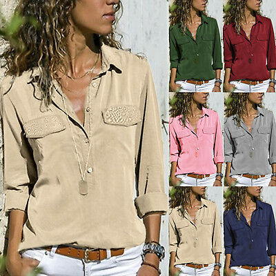 Women V Neck Casual Tops Long Sleeve Button Loose Ladies Work Shirt Blouse 5XL