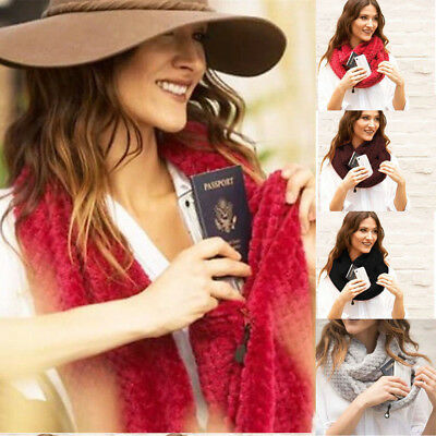 Womens Winter Warm Thermal Active Infinity Scarf With Zip Pocket Long Scarves