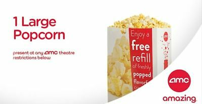 INSTANT DELIVERY - AMC  FREE  LARGE POPCORN - exp 63019-