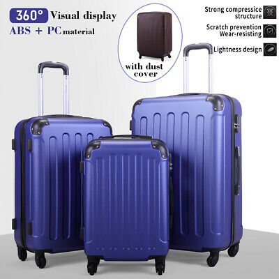 3 Piece Luggage Set Travel Trolley Suitcase ABS-PC Nested Spinner w Cover Blue