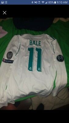 UCL 2017 Real Madrid Soccer Jersey Long Sleeve Adult Large Bale 11