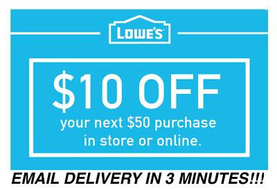 Five 5x Lowes 10 OFF 50 InStore and Online 5Coupons-Fast Delivery -EXP today