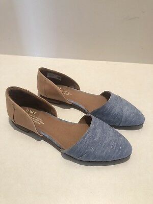 TOMS Honey Leather Blue Chambray Womens Jutti DOrsay Flats Shoe Size 9