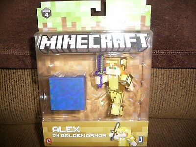 Minecraft Alex in Golden Armor Action Figure - NEW  FREE SHIPPING