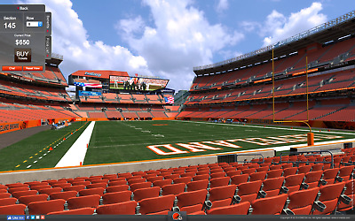 4 TICKETS CAROLINA PANTHERS AT CLEVELAND BROWNS 1209 ACTUAL FRONT ROW