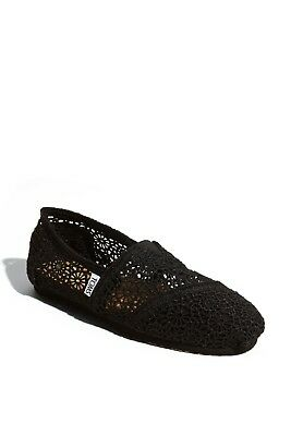 TOMS Classic Crochet Slip-On shoes new NIB authentic Size 8 New Black