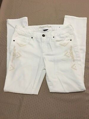 American Eagle Outfitters Woman's Stretch Skinny Embroidered White Jeans Size 12