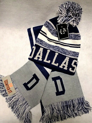 Dallas Cowboys  Team Color SUPER  Scarf and Pom  Beanie knit hat Gift Set