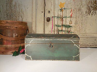 AFFA Early Painted Dome Top Box Small Antique Document Box Table Box